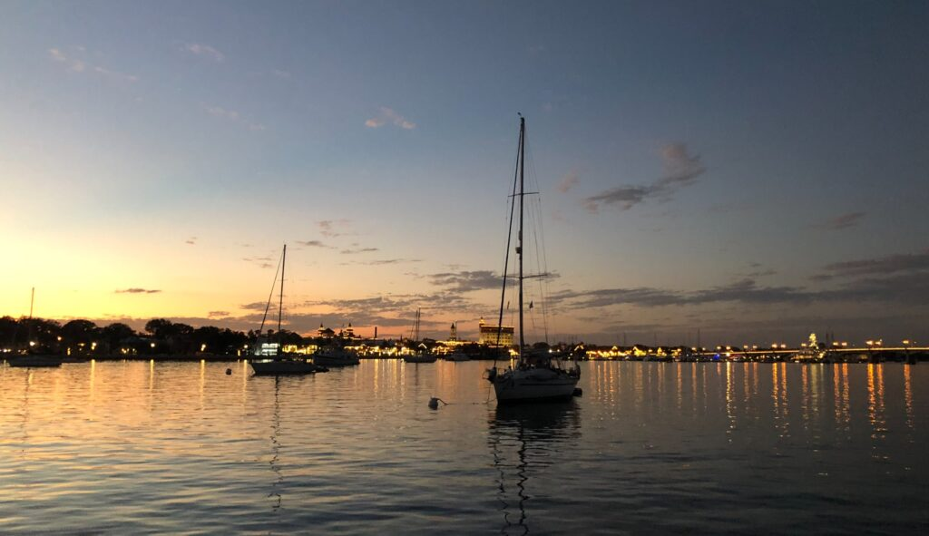 Sailboats at sunset in St. Augustine